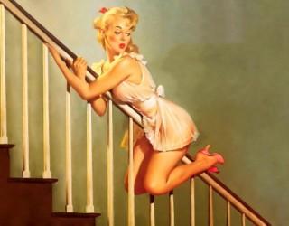 Almes Avançados - Gil Elvgren - Pin-up: No Corrimão da Escada