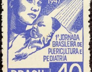 Almes Avançados - Selo Postal: 1ª Jornada Brasileira de Puericultura e Pediatria 1947